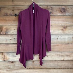 Long flowy open front cardigan in burgundy